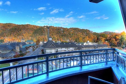 Courtyard by Marriott Hotel Historic Nature trail balcony view of Space needle in Gatlinburg tn