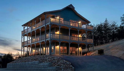 """Pigeon Forge Cabins for Christmas & Holidays """"All Decked Out"""" exterior of cabin"""