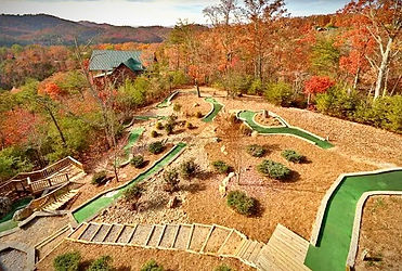 Golf on Thunder Mountain, Wears Valley cabin rental, Sevierville TN view of putt putt golf course outside cabin