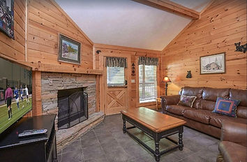 Eagle's Hideaway, handicap friendly cabin in Pigeon Forge, TN, living room with fireplace
