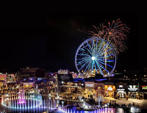 the Island in Pigeon Forge night view fireworks