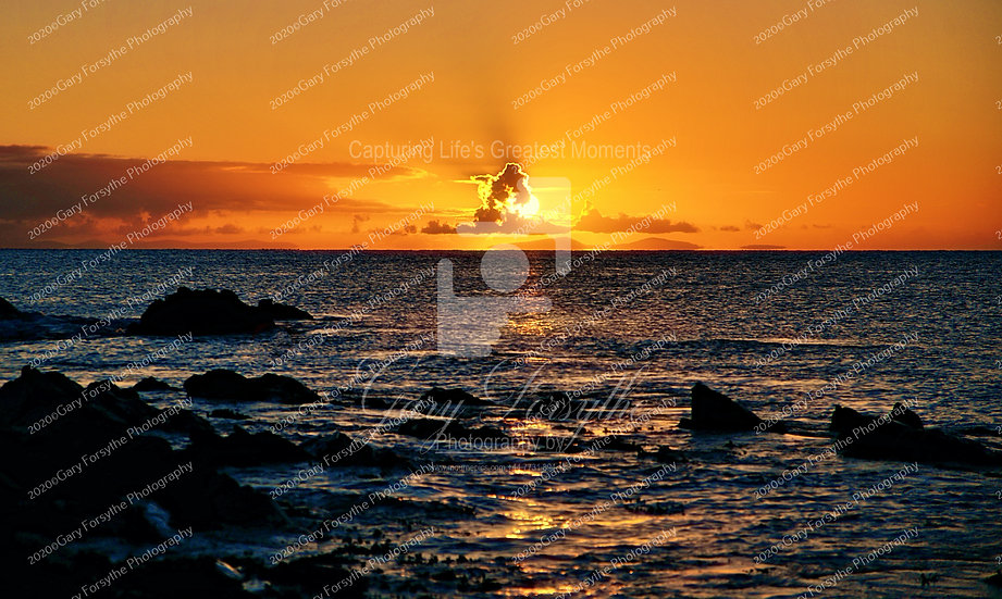 Sunrise over the Isle of Man, seen from 'St Johns' Point -  Ireland