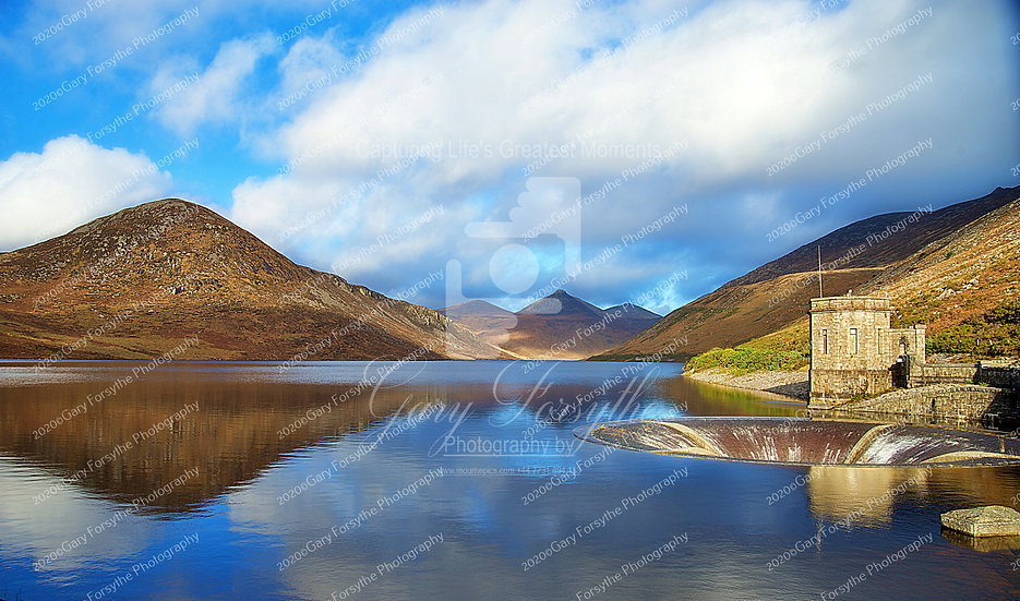 'Silent Valley' Reservoir and Overflow outlet. Ireland