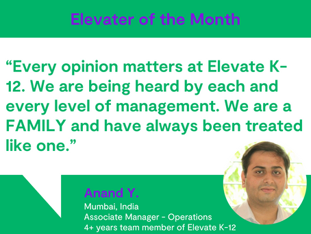 Elevater of the Month - Anand Y.
