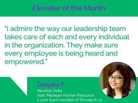 Elevater of the Month - Deepika P.