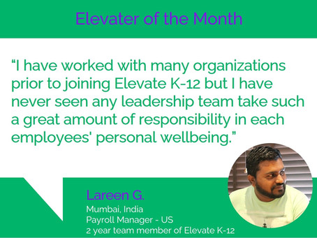 Elevater of the Month - Lareen G.