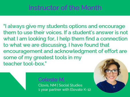 Instructor of the Month - Celeste M.