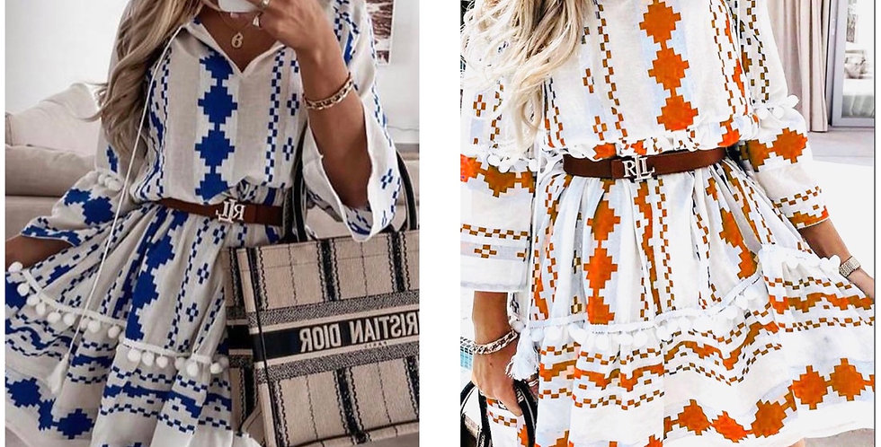 Aztec Print Knotted Dress