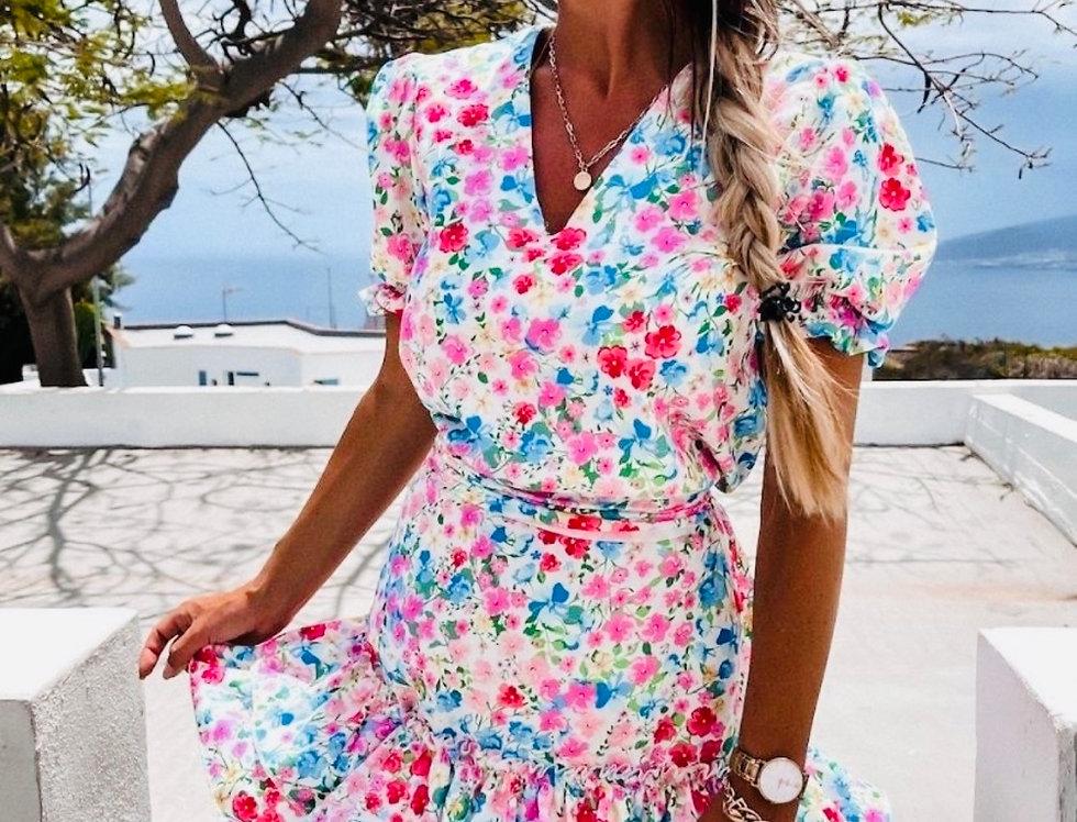 Floral Pink/Blue V Neck Tiered Dress