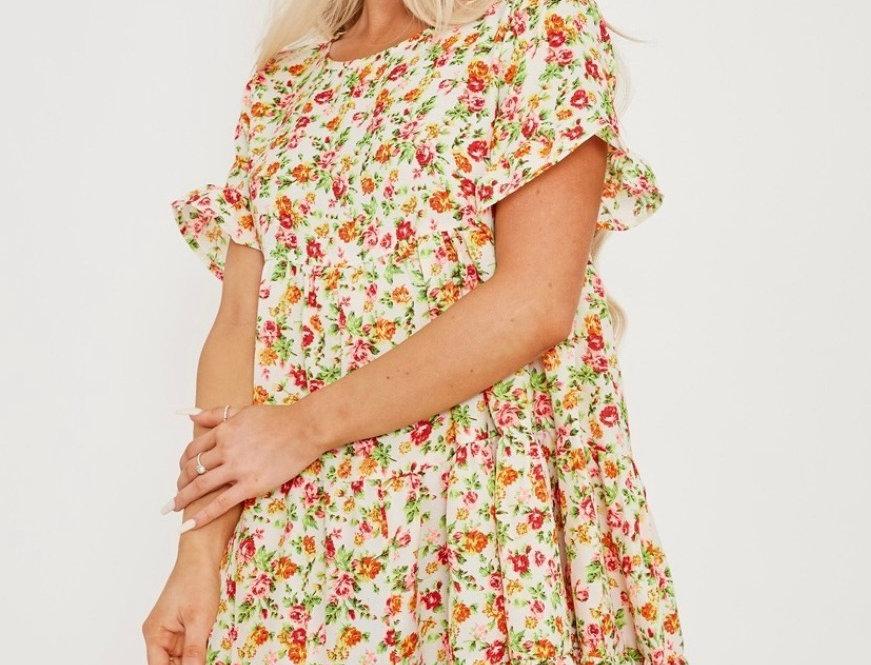 Rose Print Tiered Smock Dress