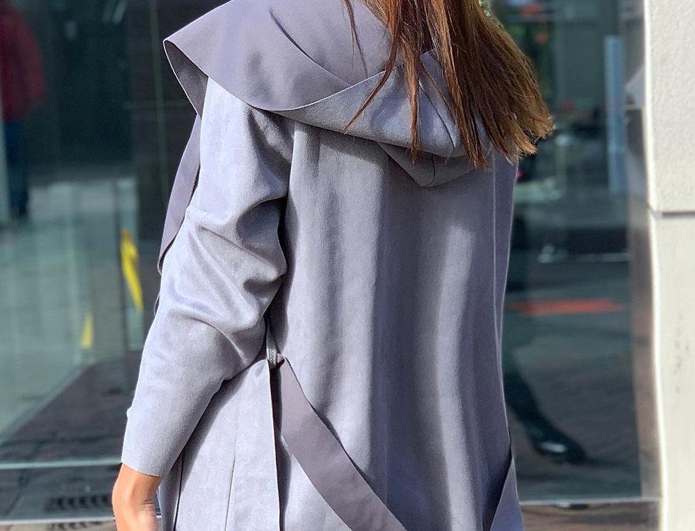Grey Waterfall Belted Jacket/Coat