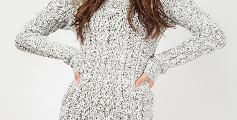 Grey Roll Neck Cable Knit Jumper Dress
