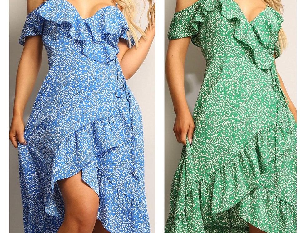 Printed Frill Wrap Cold Shoulder Midi Dress