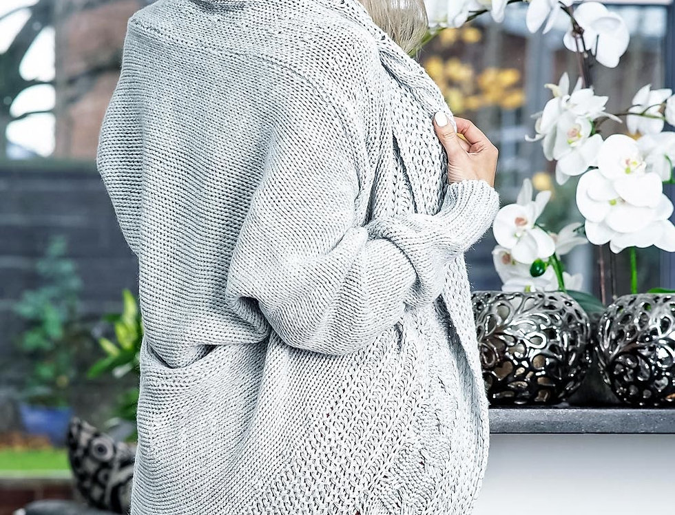 Curved Hem Knitted Cardigan
