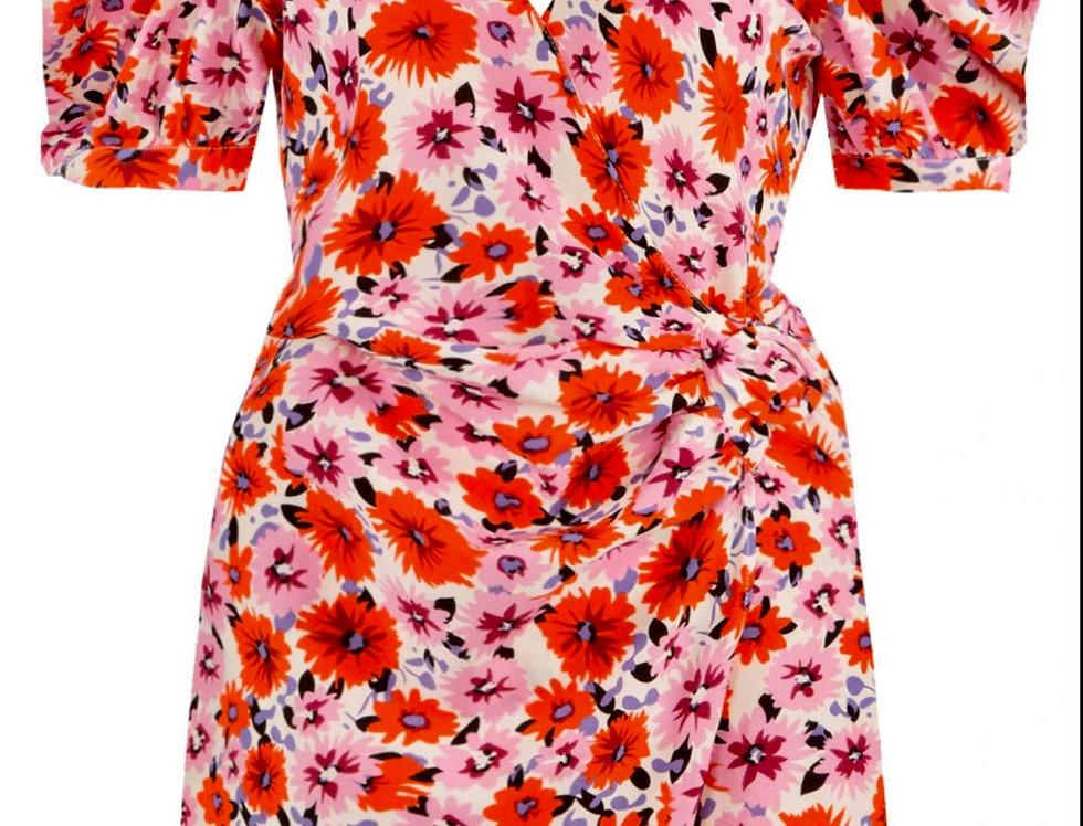 Floral Print V Neck Wrap Dress