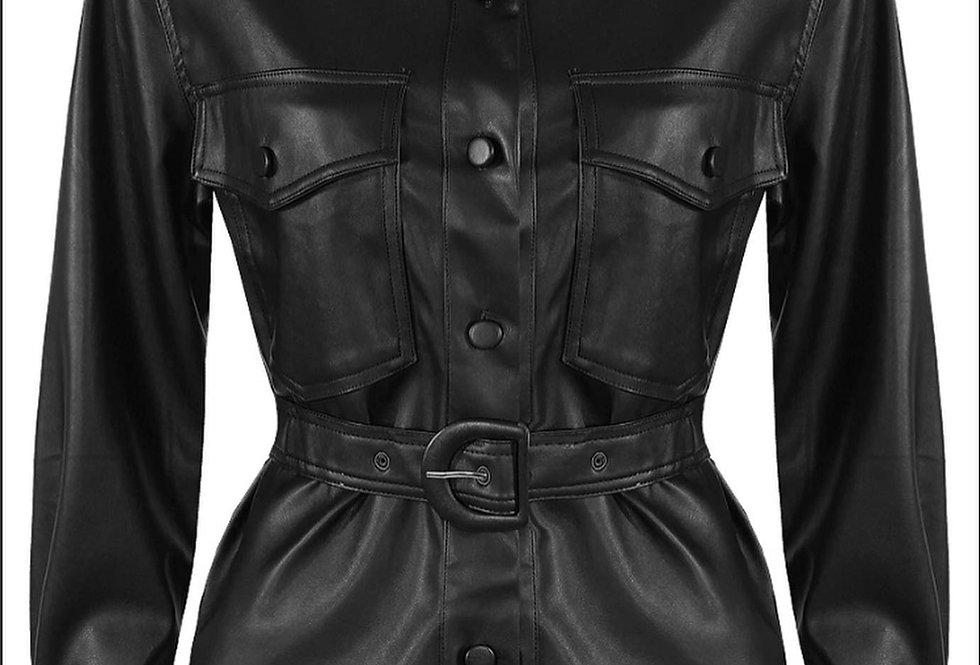 WomeFaux Leather Overshirt/Dress/Jacket