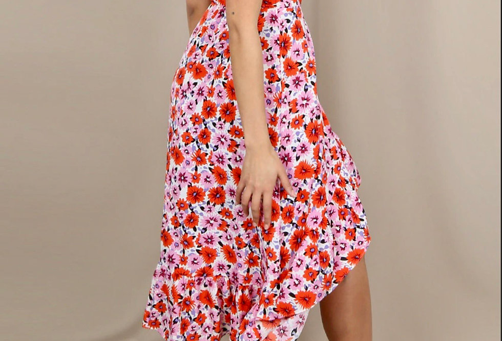 Floral Daisy Print Wrap Midi Dress