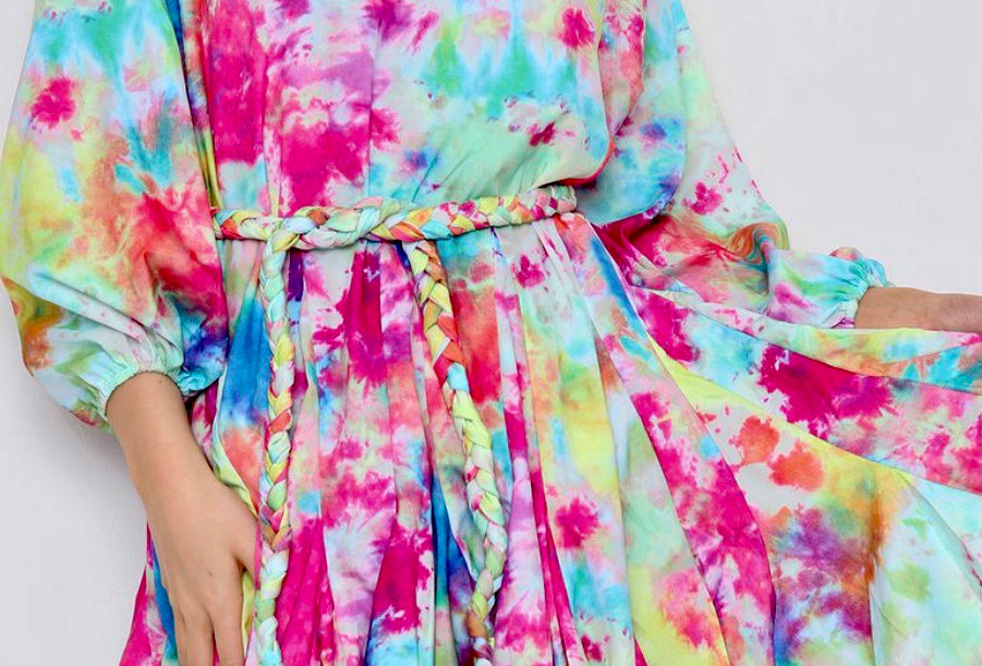 Watercolour mini dress with braided rope belt