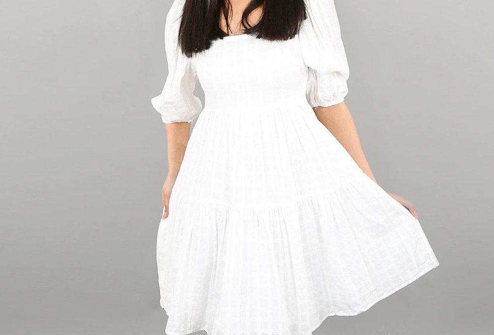 Cotton Square Neck Smock Dress