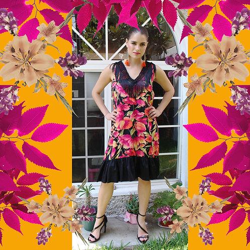 Vestido trapecio floreado