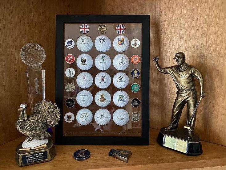 Personalised Framed Golf Ball & Marker Holder