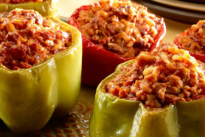 Monday Stuffed peppers with Spanish cauliflower rice