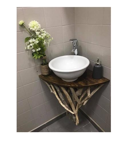 Etagère d'angle en bois flotté