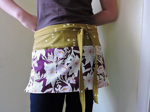 floral purple half apron