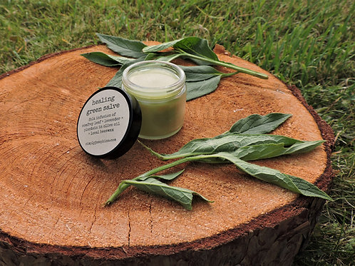 green salve + comfrey, chickweed, plantain, lavender  balm + essential oil free