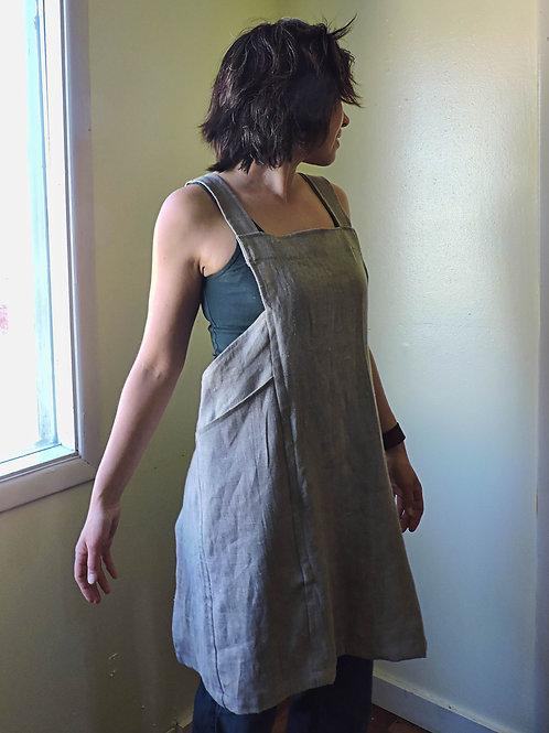 linen cross back apron