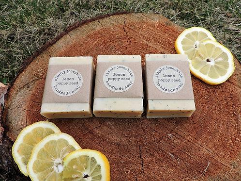 lemon poppy seed + handmade soap + 3 bars