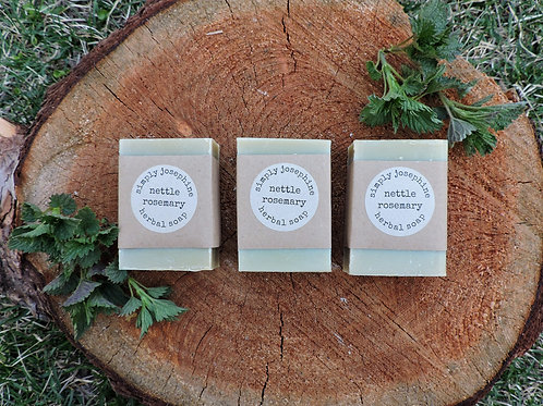 nettle rosemary + handmade soap + 3 bars