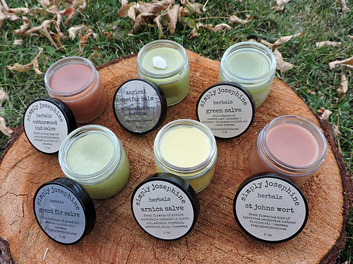six salves variety pack + healing + pain relieving + calming balm