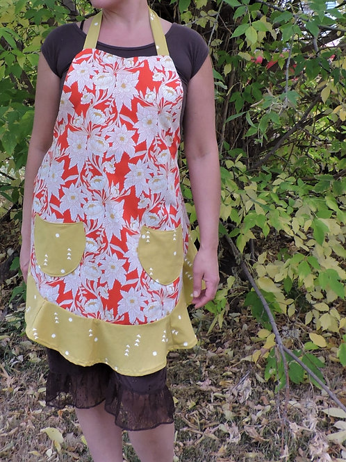 red floral sassy apron