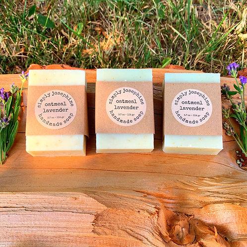 lavender oatmeal + handmade soap + 3 bars