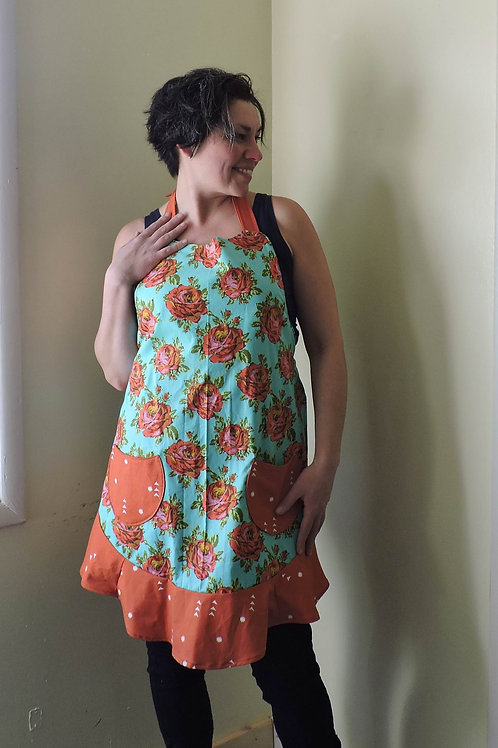 sassy teal + orange floral apron