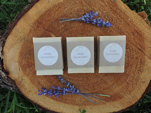 lavender sage tallow + handmade soap + essential oil free + 3 bars