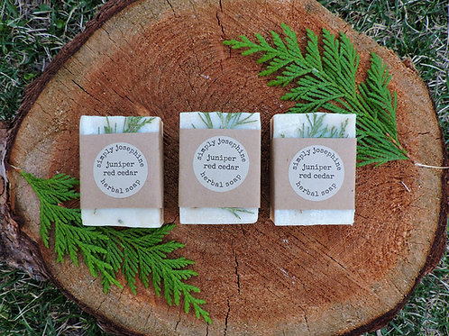 juniper red cedar tallow + handmade soap + essential oil free + 3 bars