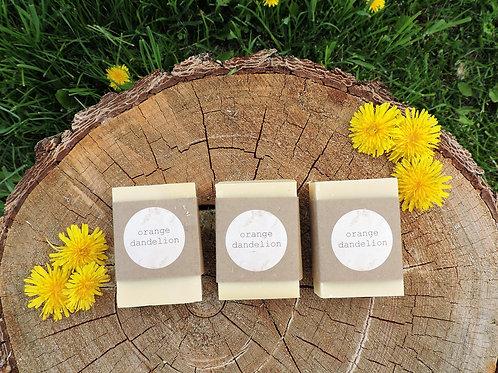 orange dandelion tallow + handmade soap + essential oil free + 3 bars