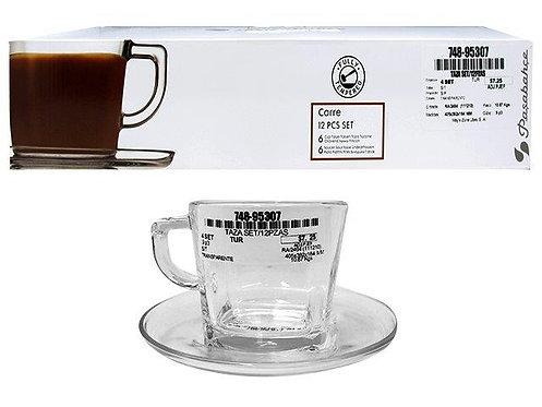 Kit de xícaras com pires - 12 peças
