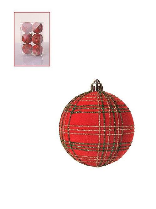 Jogo x6 bolas decorativas de natal - 7cm