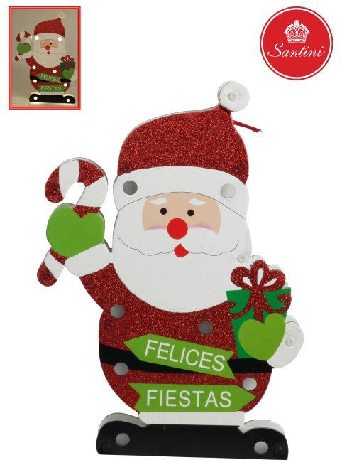 Placa Papai Noel decorativo com led