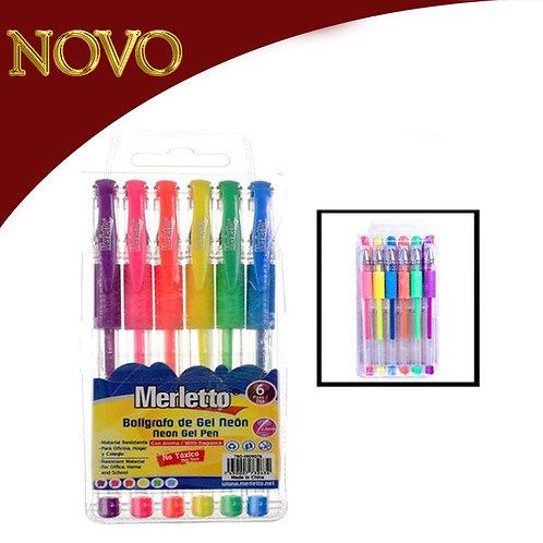 Kit x6 canetas gel neon - 0.8mm