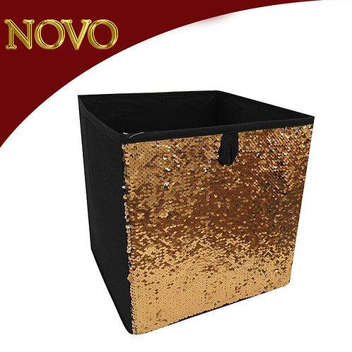 Caixa organizadora lantejoulas douradas