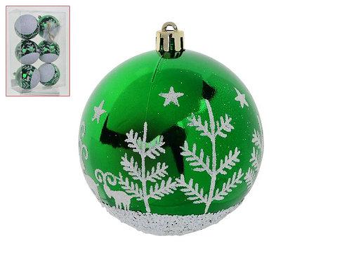 Jogo x6 bolas decorativas de natal - 8cm