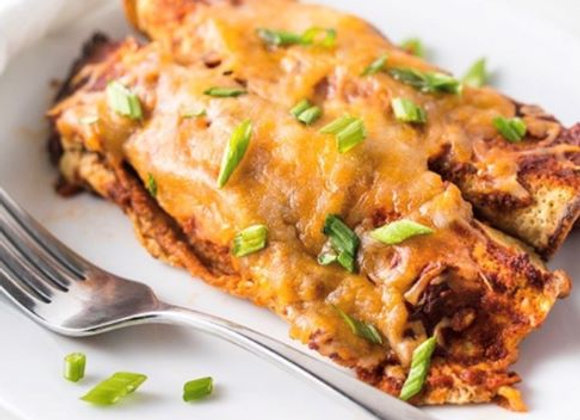 Low Carb Chicken Enchiladas with black beans and rice
