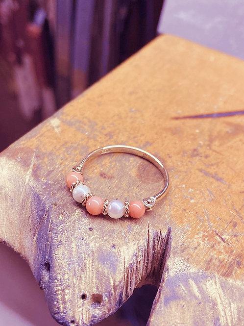 Vintage Coral & Pearl Ring