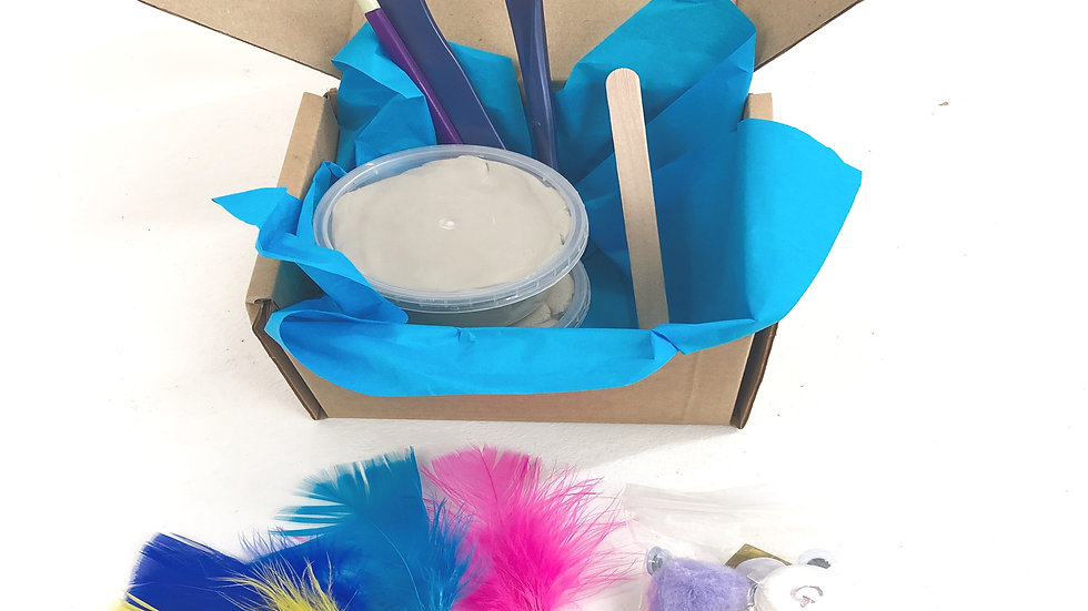 Air dry clay pack with tools, paint brush, and paints