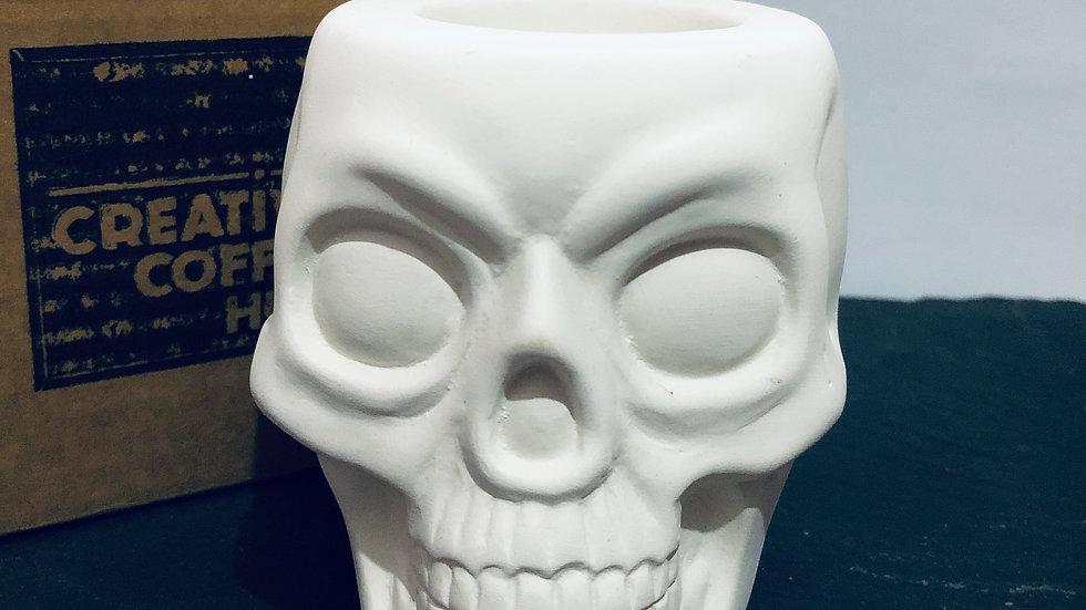Ceramic skull tea light holder with gift box