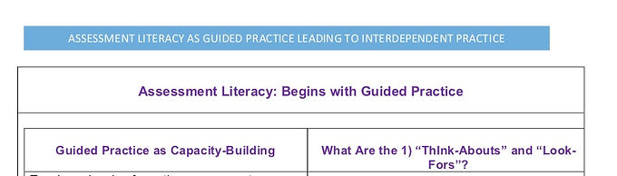 Assessment Literacy Guided and Interdependent Practice LDS